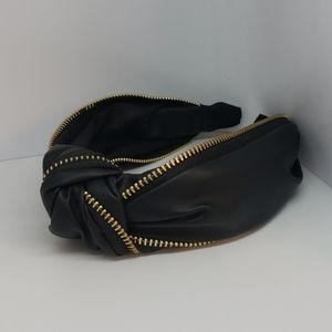 Knotted Leather Zipper Headband